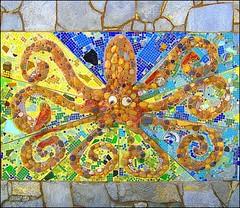 Octopus  ~ (Dom Guillochon) Tags: california usa beach colors unitedstates sandiego stones mosaic beachlife pb tiles octopus pacificbeach showers californiacoast mosaicwall octopusmosaic beachshowers publicbeachshowers