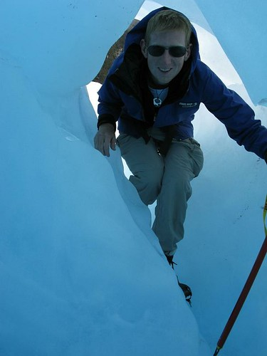 me entering a blue ice cave