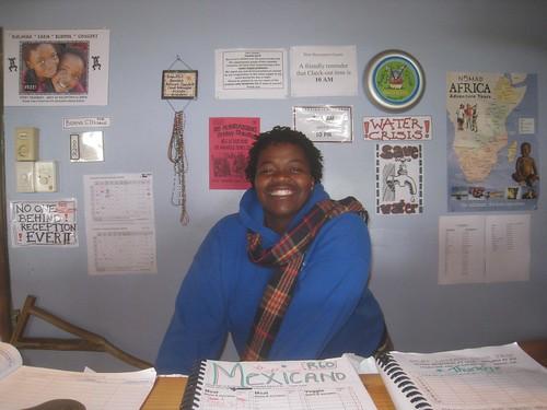 Mbali at reception desk
