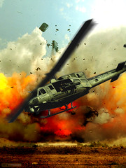 Combat Chopper (rcvernors) Tags: clouds fire flying chopper war action destruction smoke digitalart explosion flight helicopter flame computerart marines combat gunner allrightsreserved bushsucks flyby photoshopart usmarines rcvernors colorfullaward
