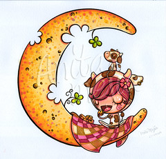 Cheese Moon ORIGINAL ART (Anita Mejia) Tags: original cute girl illustration artwork markers inks anitamejia