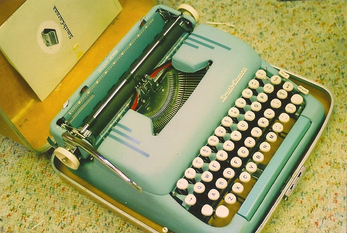 beautiful blue typewriter.