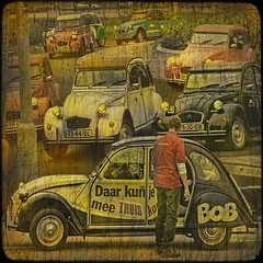"""Bob, his car and other """"ugly ducks"""". (egold.) Tags: holland netherlands textures oldcars hdr zaanseschans citroën2cv uglyduck saariysqualitypictures magicunicornverybest —obramaestra— truthandillusion"""