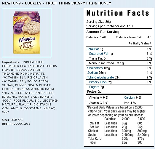 Nutrition Info for Newtons Fruit Thins
