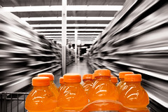 Shop til you drop  172/365 (. : : v i S H a l : : .) Tags: orange motion blur shopping supermarket aisle groceries gatorade selectivecolor day172 project365 shoptilyoudrop 172365
