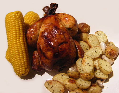 Soy Sauce Chicken with Corn and Potatoes