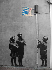 Tesco vs Banksy (_Kriebel_) Tags: road street london pasteup art up print poster graffiti stencil sticker flag paste banksy tesco april 2008 5th essex kriebel weath weathpaste