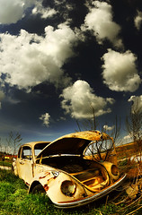 retired to the country (Dan65) Tags: sky cloud car vw volkswagen rust beetle 8 fisheye tokina explore wreck firstquality