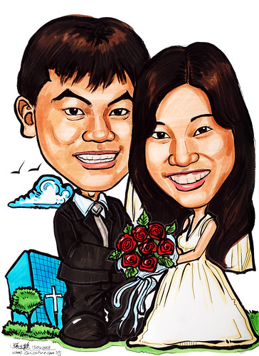 Caricature couple Grace Methodist Church wedding