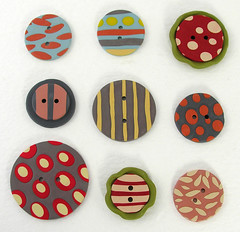 Buttons made out of Polymer Clay. (Elsita (Elsa Mora)) Tags: colors vintage colorful handmade buttons decorative inspired collection clay round elsa sculpted mora polymer elsita