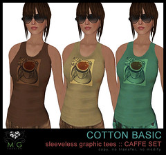 [MG fashion] Cotton basic sleeveless graphic tees - CAFFE