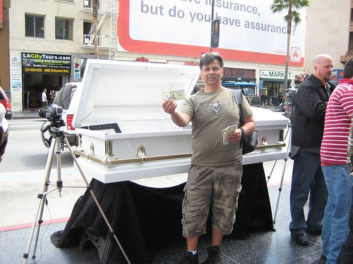Jeff standing in front of coffin on Hollywood Blvd.
