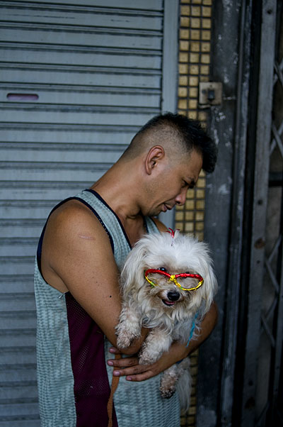 Man and bespectacled dog, Bangkok's Chinatown