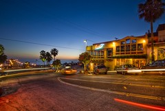 An evening in Manhattan Beach (Stuck in Customs) Tags: ocean california blue sky panorama cars beach night reflections photography lights restaurant evening losangeles nikon shoot photographer shot pacific image photos parking details horizon d2x perspective picture beaches pro nightlife portfolio manhattanbeach capture tones palmbeach hdr techniques stuckincustoms treyratcliff