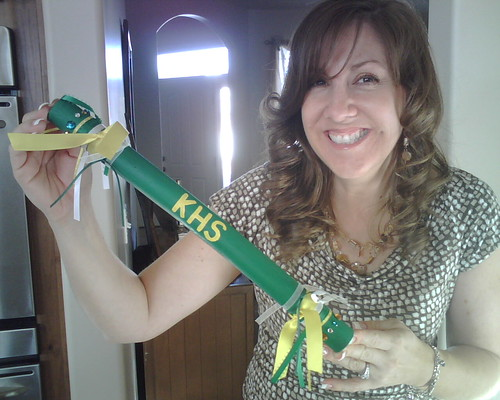 My mom holding the spirit stick I made