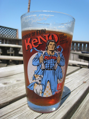 Oregon State Keno Ads on Beer Glass