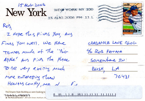 Postcard from New York - August 18, 2006