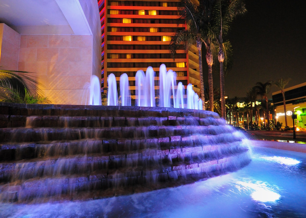 Hotel Waterfall at Night