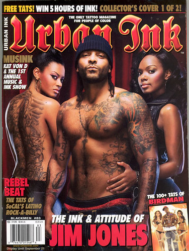 "Rapper Jim Jones Covers this month's issue of 'Urban Ink"" (one of the only, jim. jones. migwonderful. tattoo"