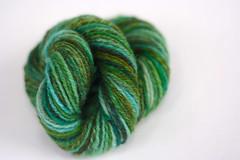 Drift (a shrill caramel) Tags: wool yarn greens spinning navajo spindle drift handspun 3ply navajoply pigeonroof pigeonroofstudios