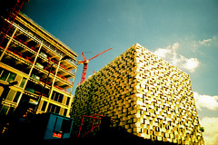 Borg Cube - Eek! (ClydeHouse) Tags: crossprocessed construction borg sheffield plasticfantastic crapcam carpark vivitar 100iso ultrawideslim roll6 multistoreycarpark borgcube bykarl plasticam kodakelitechromeextracolor viv2 indate processedatpeak