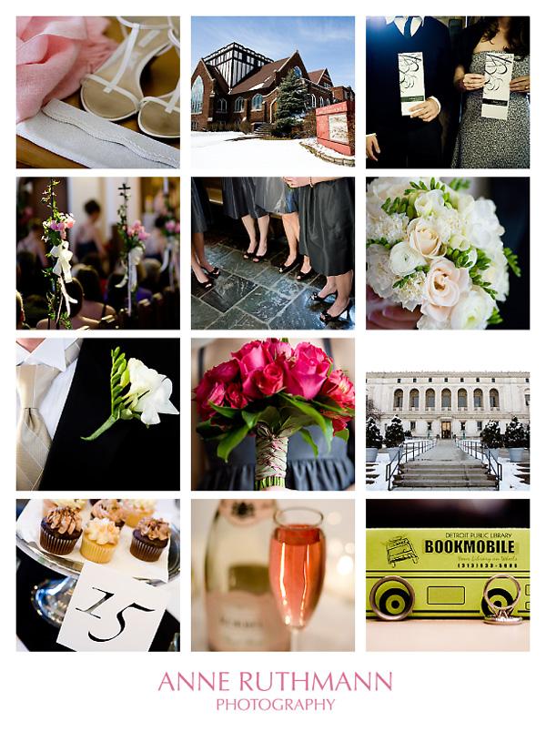 Pink Black White Real Wedding Detail Board