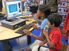 Children using the library computers.