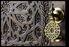 Moroccan Doors (tochis) Tags: door wood geometric metal stars spain geometry patterns details zaragoza morocco aragon es islamic ornamentation expo2008 expozaragoza2008 aplusphoto