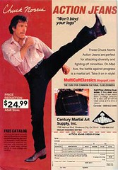 "Walker Texas Ranger wants to sell you some ""action jeans"" (MsBlueSky) Tags: weird funny ad advertisement jeans 80s advert 1980s cheesy chucknorris actionjeans"