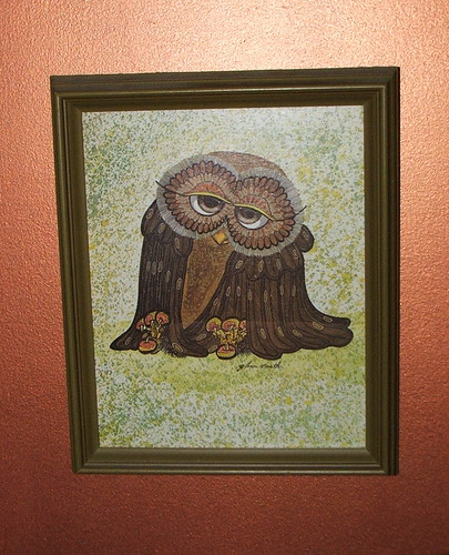 Retro Sweet Sleepy Owl Picture
