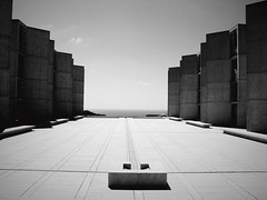 Salk Institute, San Diego (Lanchung Jie) Tags: trees urban white black nature leaves sepia architecture buildings cool interesting sandiego geometry scenic shapes bridges angles salk