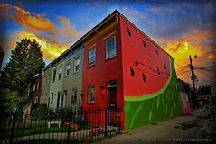 Watermelon House (digital_don) Tags: color canon washingtondc dcist fullframe residence allrightsreserved rowhouse watermellon canon30d img0375 shawneighborhood 2008donharris 11thandqstreetnw 29september2008