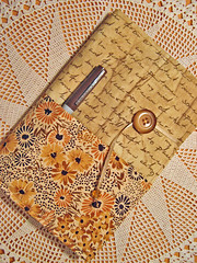 Golden Words and Flowers (misseskwittys) Tags: flowers brown floral gold ribbons button script agenda planner beaded pockets appointments misseskwittys