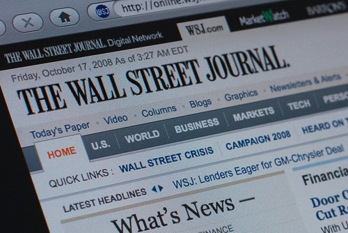 WSJ.com's front page, today