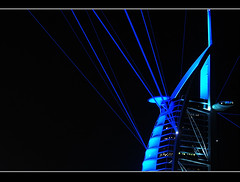Centre of Attraction (Paul) Tags: blue holiday architecture night skyscraper hotel al dubai uae eid arab laser 7star strobe burj teflon