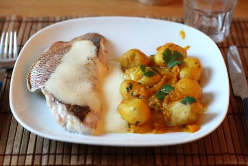 Tajines de patates & filets de pagre au safran