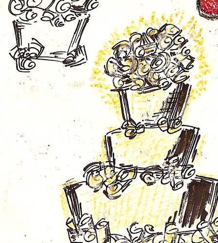 big fat 90's wedding cake sketch