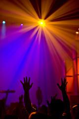 FUSE (SARAΗ LEE) Tags: california lighting light orange church silhouette yellow los hands worship purple center christian cottonwood service rays oc praise fuse raised lightrays alamitos sarahlee legothenego vivantvie
