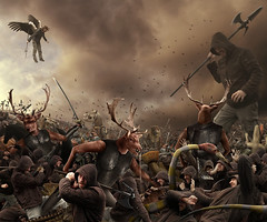 battling the cult (Mattijn) Tags: collage self giant army chaos snake surreal battle hoody clones crocodile photomontage messenger darkangel creatures mattijn demons photocomposite deersoldiers