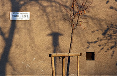 Róna utca (sonofsteppe) Tags: street winter shadow urban brown detail building tree art horizontal wall square daylight hungary exterior outdoor bare budapest nobody scene explore blowhole pentacon visual exploration manualfocus thewall 135mm fragment ilmuro streetplate wallscape sonofsteppe pusztafia zugló utcatábla streetplatesofbudapest rónautca urbanlifeoftrees