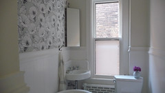 upstairs bathroom / after (Anna @ D16) Tags: wallpaper bathroom victorian upstairs myhouse after bathtub marble renovation clawfoot radiator rowhouse bindweed beadboard windowfilm hexagontiles fermliving cornersink