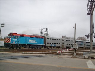 Westbound Metra express commuter train. Franklin Park Illinois. March 2007.