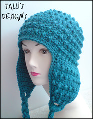Hori Bobbles Earflap Hat in Green/Teal
