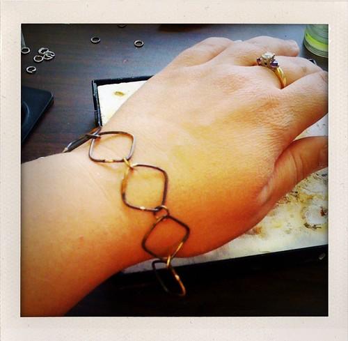 halfway soldered square link bracelet