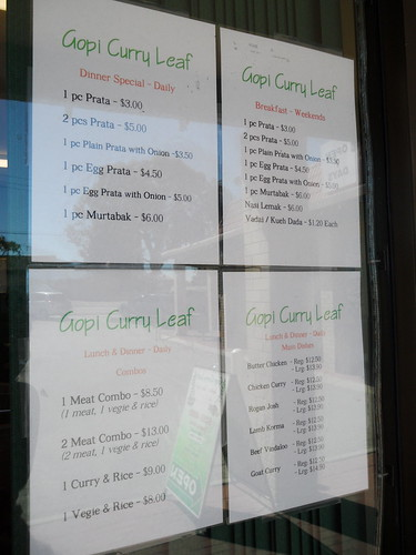 Gopi Curry Leaf Menu