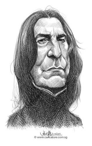 digital caricature sketch of Alan Rickman
