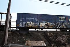 Owl x Mes x Epik (Into Space!) Tags: ny newyork art train graffiti li photo longisland owl illegal graff piece mes freight epik intospace intospaces