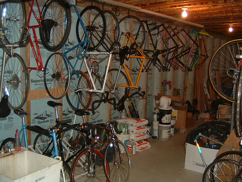 Best Way to Hang Bike in Garage - Bike Forums How To Hang Bikes In Garage on bicycle garage, make a bike hanger for the garage, methods to hang bike in garage, how my room to hang in a bmx bike,