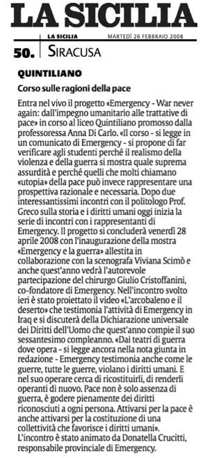 Articolo sul Progetto Emergency : war never again