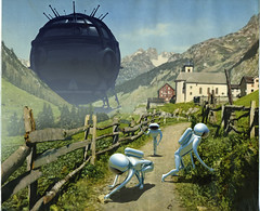 3 Aliens Trekking (Invading The Vintage - Franco Brambilla) Tags: art illustration vintage switzerland 3d arte post postcard aliens vintagepostcard scifi alieni illustrazione